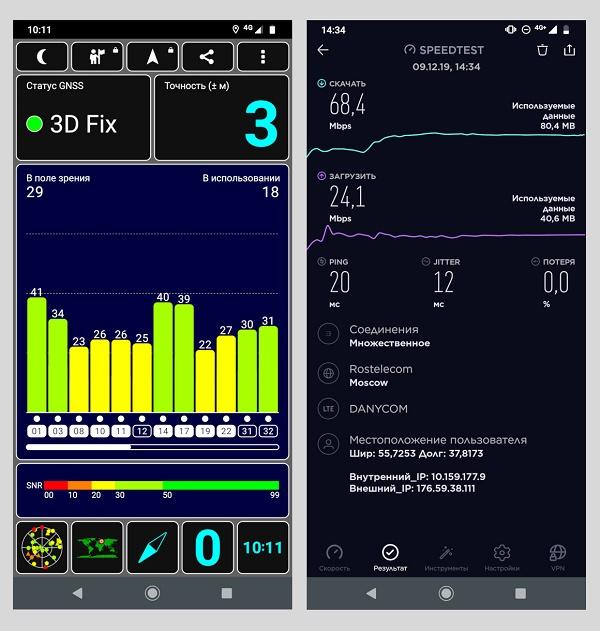 смартфон Moto G8 Plus. Результаты тестов по спутникам GPS, Speedtest